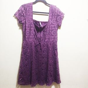 Aeropostale Purple Square Neck Lace Corset Dress